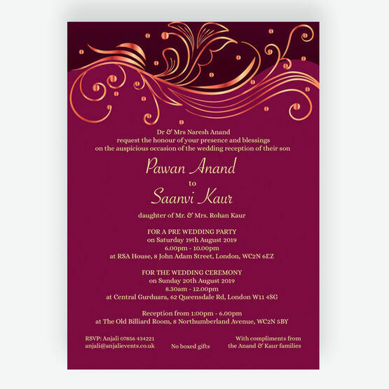 Burgundy Rose Gold Indian Asian Wedding Invitation From 0 90 Each