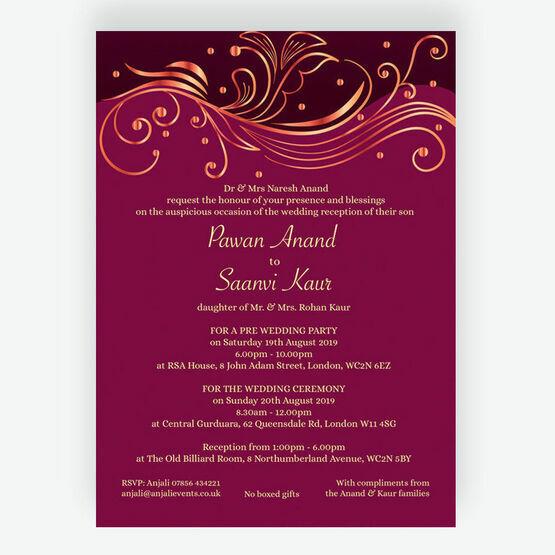 Burgundy & Rose Gold Indian / Asian Wedding Invitation