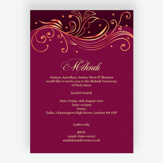 Burgundy & Rose Gold Mehndi / Baraat Card
