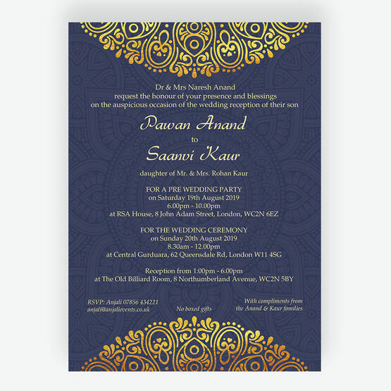 Navy Blue & Gold Indian / Asian Wedding Invitation