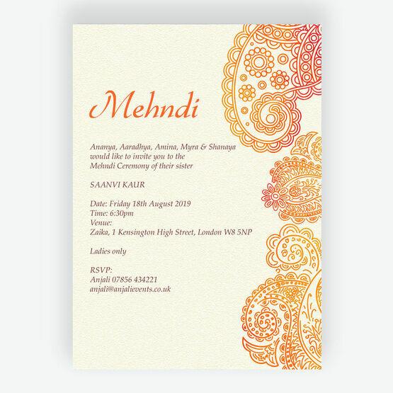 Orange & Red Paisley Mehndi / Baraat Card