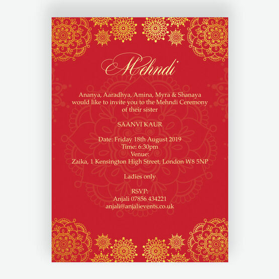 Red & Gold Mehndi / Baraat Card