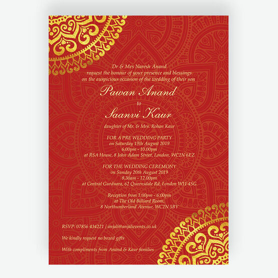 Red & Gold Mandala Indian / Asian Wedding Invitation