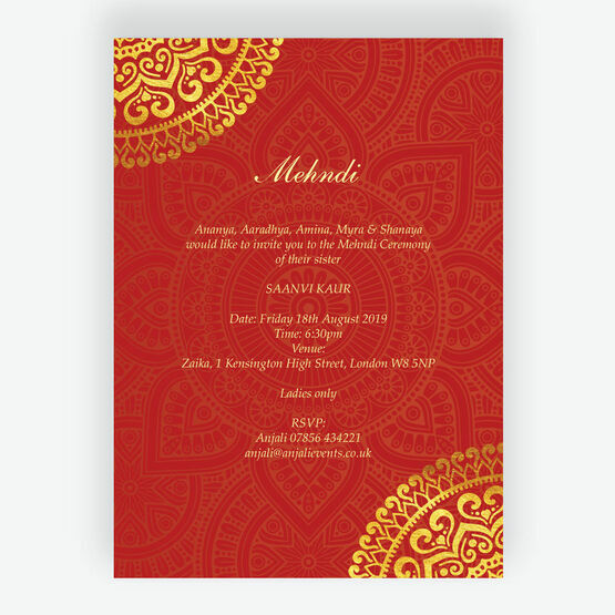Red & Gold Mandala Mehndi / Baraat Card