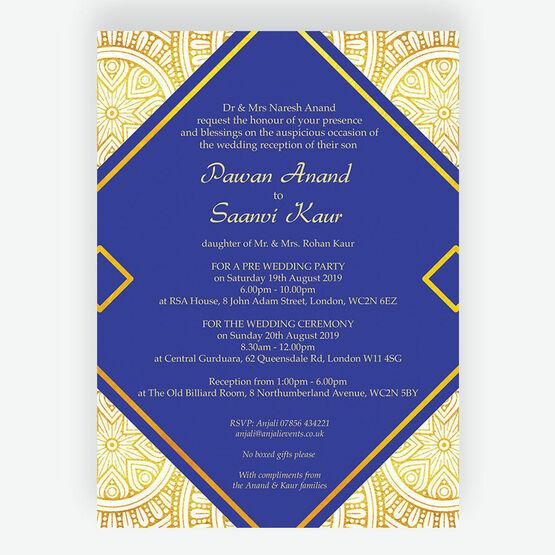 Royal Blue & Gold Indian / Asian Wedding Invitation