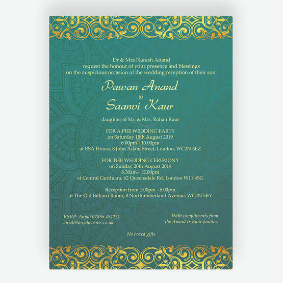 Teal & Gold Indian / Asian Wedding Invitation