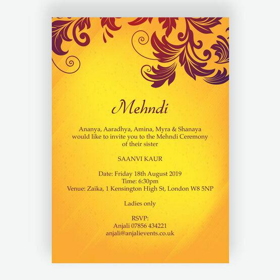 Yellow & Burgundy Mehndi / Baraat Card