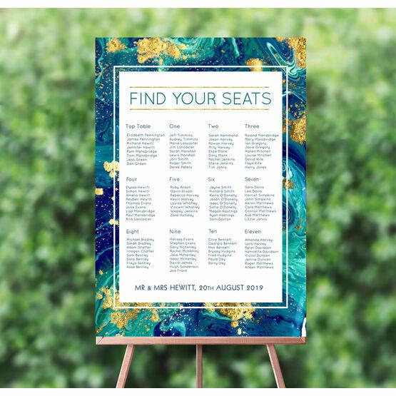 Teal & Gold Ink Wedding Seating Plan