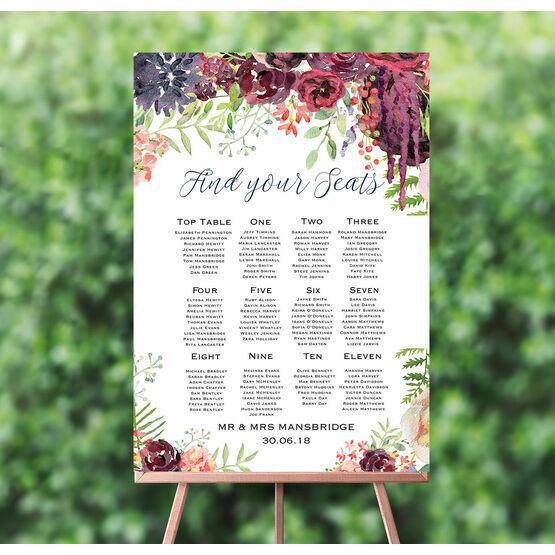 Burgundy Watercolour Floral Wedding Seating Plan