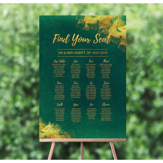 Emerald & Gold Wedding Seating Plan