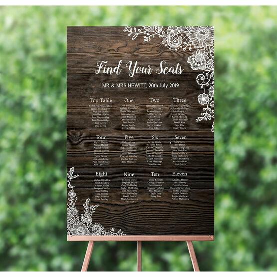 Rustic Wood & Lace Wedding Seating Plan