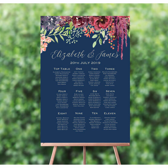 Navy & Burgundy Floral Wedding Seating Plan
