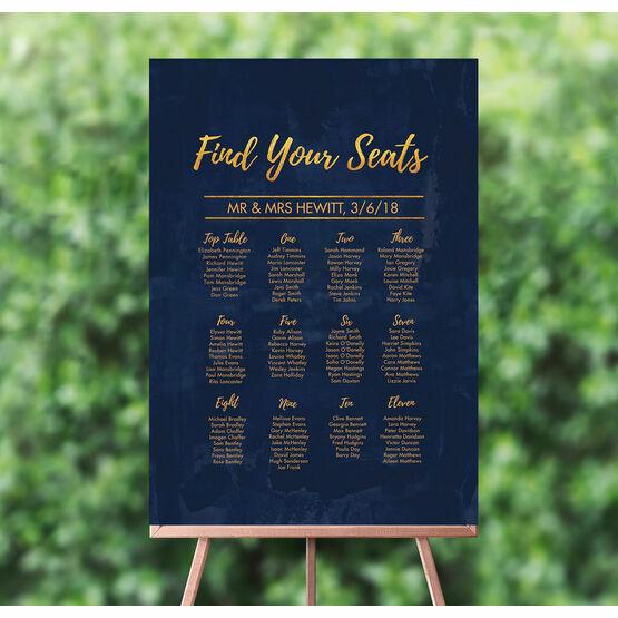 Navy & Gold Wedding Seating Plan