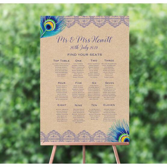 Rustic Peacock Wedding Seating Plan