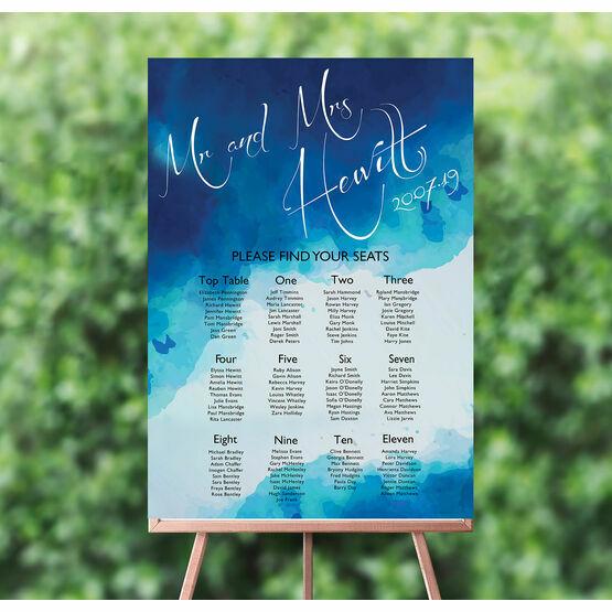 Blue Watercolour Wedding Seating Plan