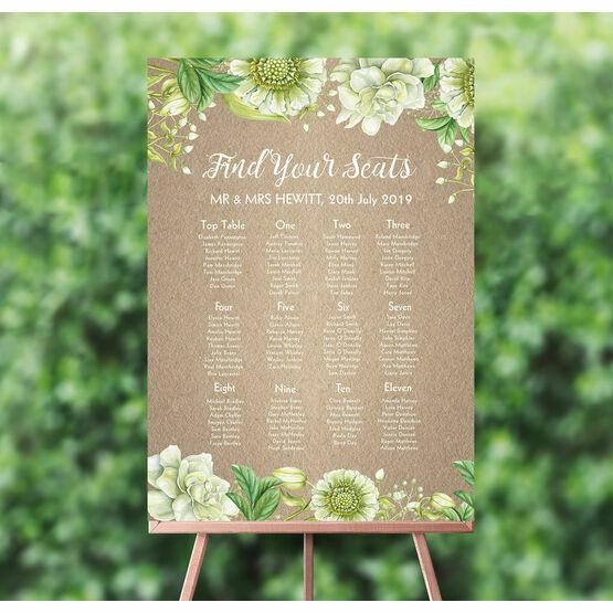 Rustic Greenery Wedding Seating Plan