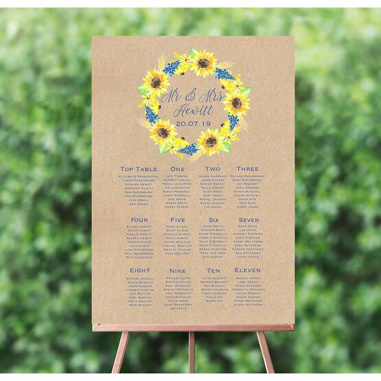 Rustic Sunflower Wedding Seating Plan