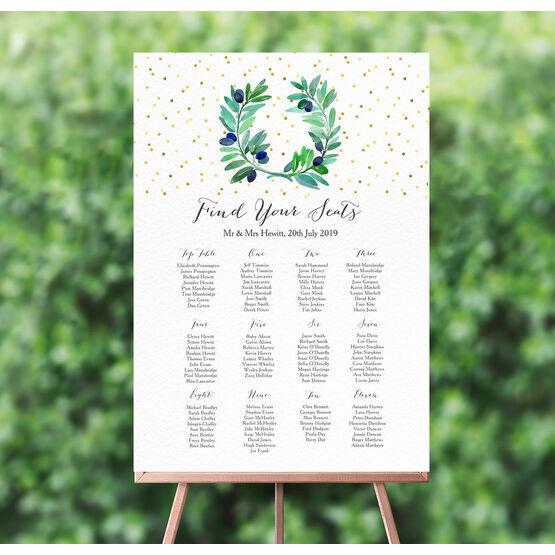 Olive Wreath Wedding Seating Plan