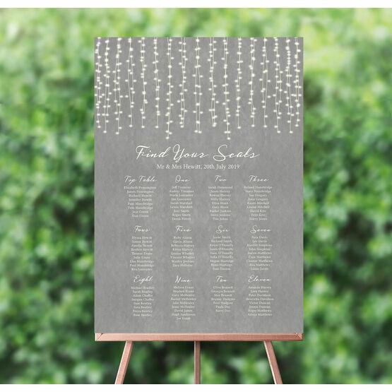Dove Grey Fairy Lights Wedding Seating Plan