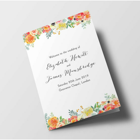Coral Blush Flowers Wedding Order of Service Booklet