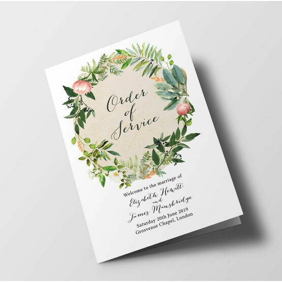 Flora Wreath Wedding Order of Service Booklet