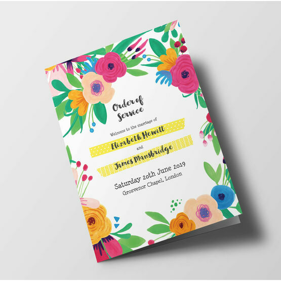 Floral Fiesta Wedding Order of Service Booklet