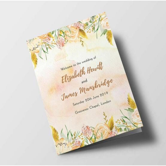 Gold Floral Wedding Order of Service Booklet