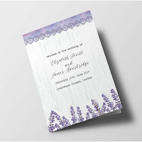 Lilac & Lavender Wedding Order of Service Booklet