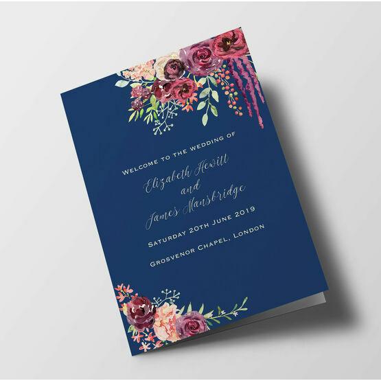 Navy & Burgundy Floral Wedding Order of Service Booklet