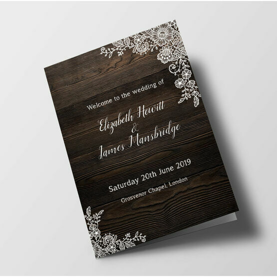 Rustic Wood & Lace Wedding Order of Service Booklet