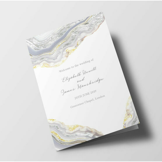 Silver Geodes Wedding Order of Service Booklet