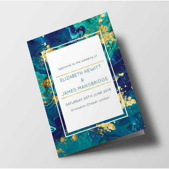 Teal & Gold Ink Wedding Order of Service Booklet