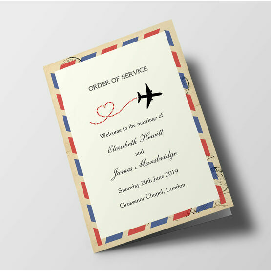 Vintage Airmail Wedding Order of Service Booklet