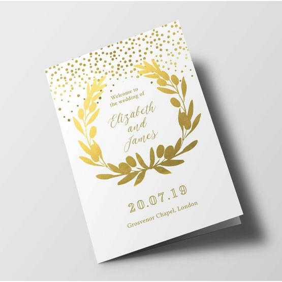 Golden Wreath Wedding Order of Service Booklet