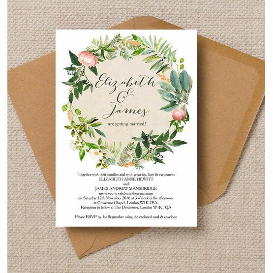 Flora Wreath Wedding Invitation