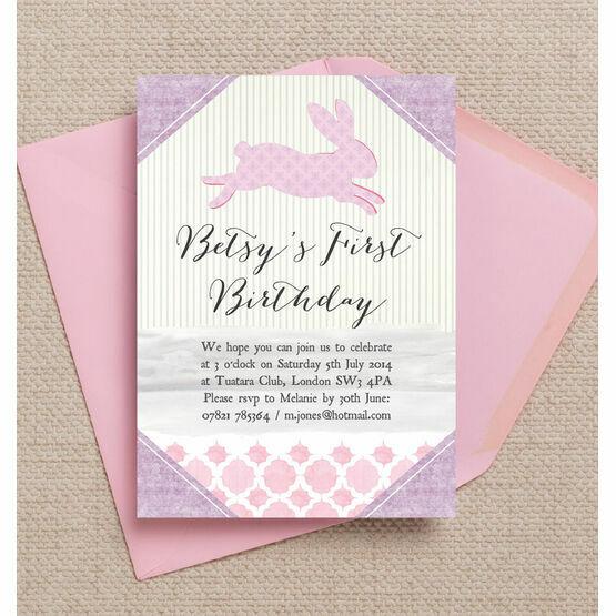 Pastel Bunny Party Invitation