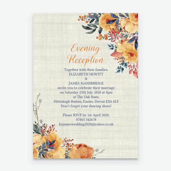 Autumn Orange Floral Evening Reception Invitation