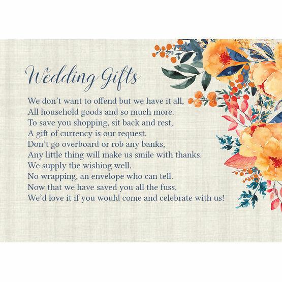 Autumn Orange Floral Gift Wish Card