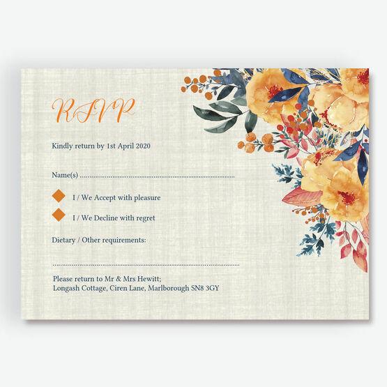 Autumn Orange Floral RSVP
