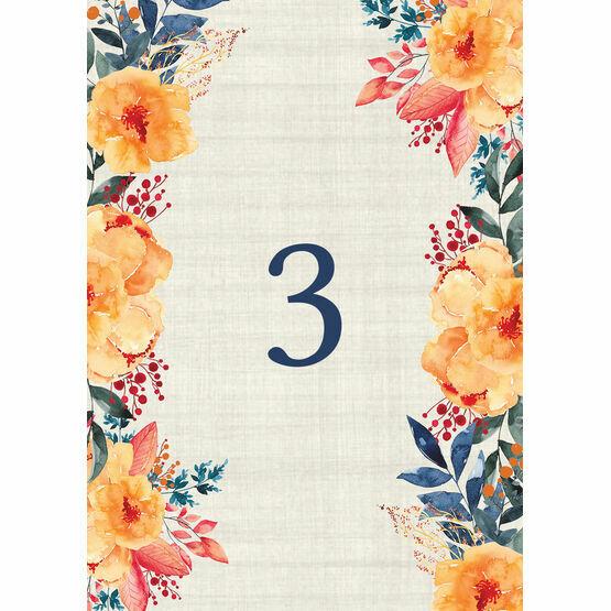 Autumn Orange Floral Table Number