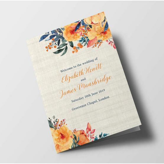 Autumn Orange Floral Wedding Order of Service Booklet
