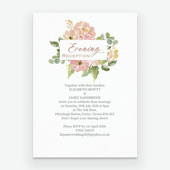 Blush Pink Flowers Evening Reception Invitation