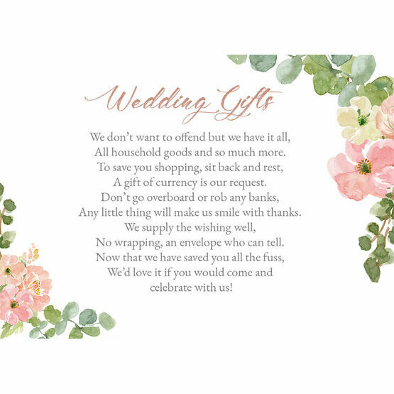 Blush Pink Flowers Gift Wish Card