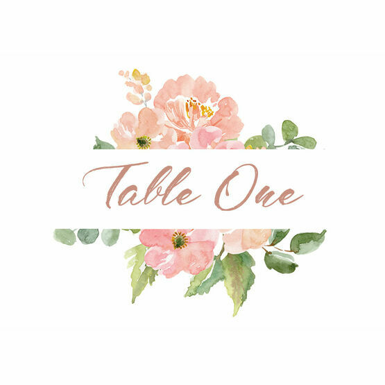 Blush Pink Flowers Table Name