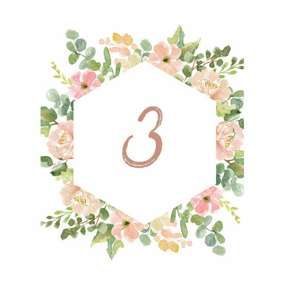 Blush Pink Flowers Table Number