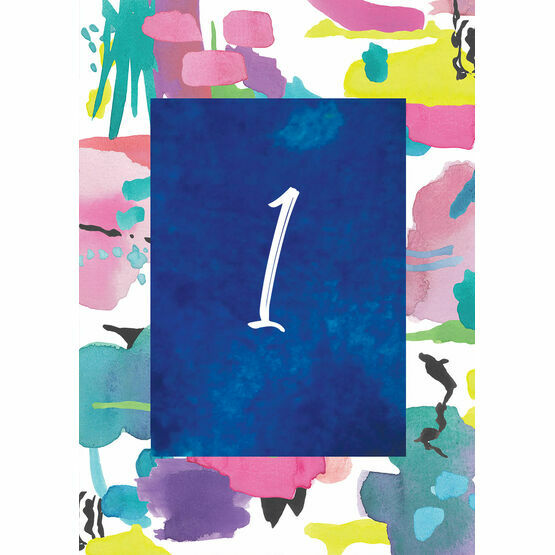 Bright Watercolour Table Number