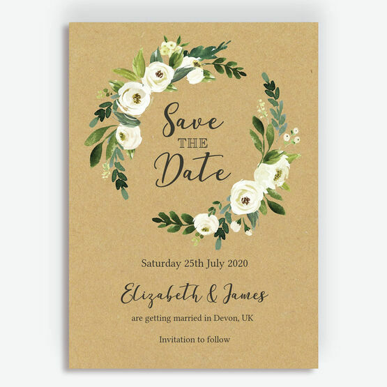 Cream Flowers Wedding Save the Date