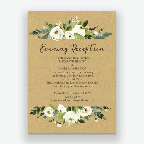 Wedding Ideas For Evening Reception: Cream Flowers Evening Reception Invitation From £0.85 Each