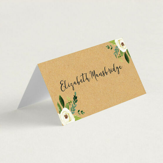 Cream Flowers Folded Wedding Place Cards