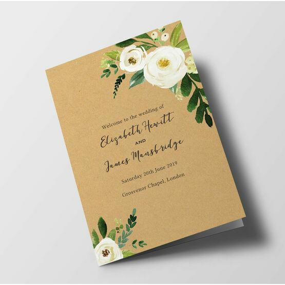 Cream Flowers Wedding Order of Service Booklet